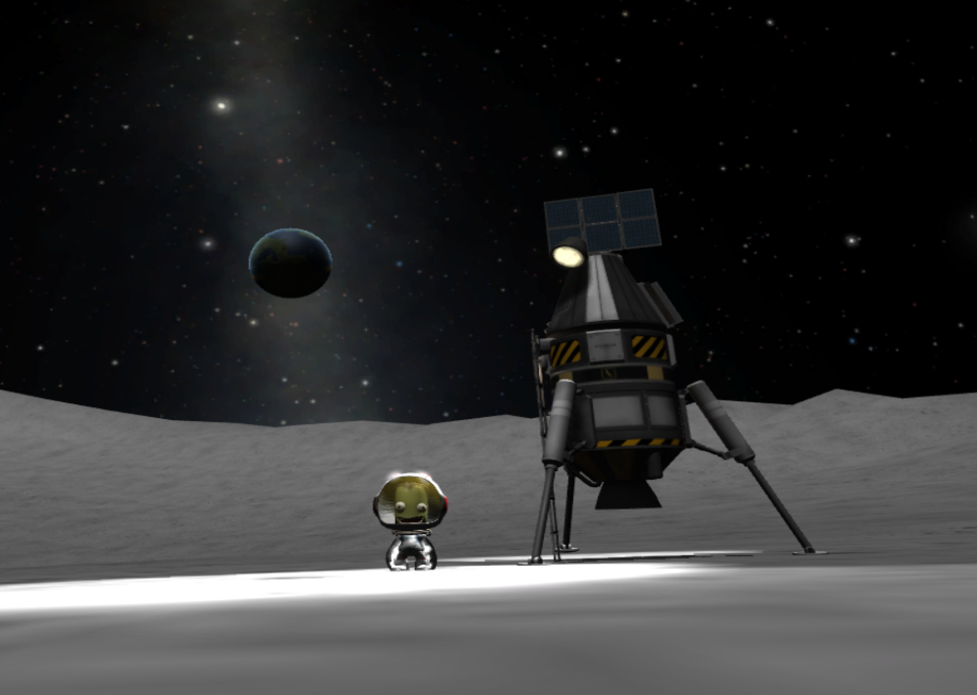 A kerbal stands proudly on the moon next to a small, three-legged lander. In the background is Kerbin, set against the milky way.