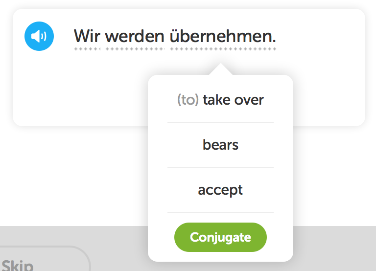 Hovering over the word übernehmen in Duolingo shows a list of possible translations: to take over, bears, to accept.