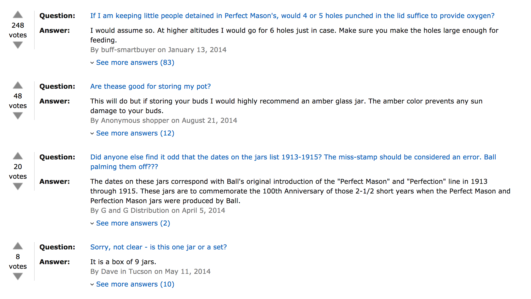 Screenshot shows four questions on an amazon product page about mason's jars. The questions ask about whether holes should be poked in the lids if one is detaining little people in the jars (248 votes), whether the jars are suitable for storing pot (48 votes), whether people find it odd that antiquated dates are stamped on the jars, and whether the product is one jar or a set (it is nine jars).